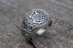 Ancient Smithy VW Rings Sleipnir Symbol Ring with Urnes Style Sterling Silver Viking Jewelry