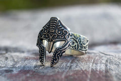 Ancient Smithy VW Rings Spartan Helmet Ring Sterling Silver Unique Handmade Jewelry