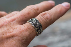 Ancient Smithy VW Rings Exclusive Ring with Scandinavian Decoration Sterling Silver Jewelry