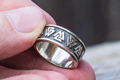 Ancient Smithy VW Rings Valknut Symbol Ring Sterling Silver Viking Jewelry