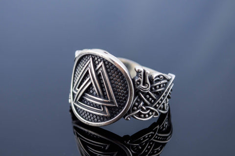 Ancient Smithy VW Rings Valknut Symbol Ring with Wolf Ornament Sterling Silver Norse Jewelry