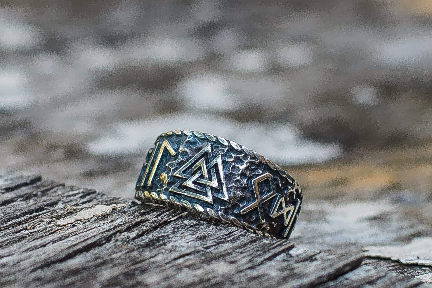 Ancient Smithy VW Rings Valknut Symbol With HAIL ODIN Runes Sterling Silver Pagan Ring
