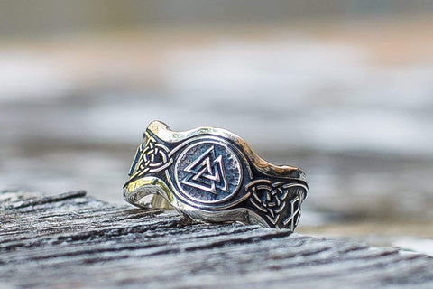 Ancient Smithy VW Rings Valknut Symbol With HAIL ODIN Runes Sterling Silver Viking Ring