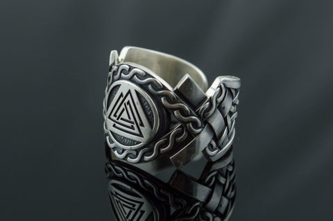 Ancient Smithy VW Rings Valknut Symbol with Norse Ornament Ring Viking Jewelry