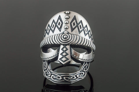 Ancient Smithy VW Rings Viking Helmet Ring Sterling Silver Unique Handmade Jewelry