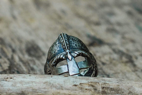 Ancient Smithy VW Rings Viking Helmet Sterling Silver Unique Ring Viking Jewelry