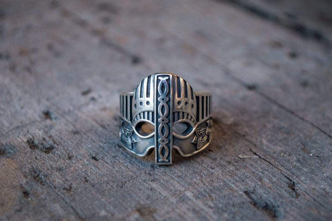 Ancient Smithy VW Rings Viking Helmet with Norse Ornament Sterling Silver Unique Ring