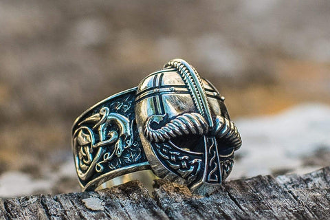 Ancient Smithy VW Rings Viking Helmet with Ornament Sterling Silver Unique Ring
