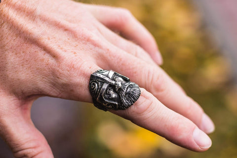 Ancient Smithy VW Rings Viking Ring Sterling Silver Scandinavian Ring Norse Jewelry