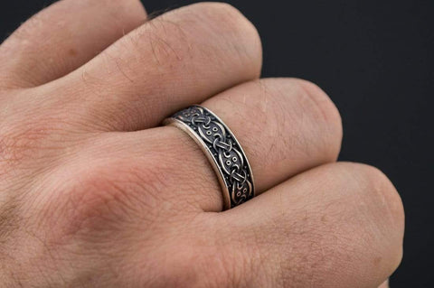 Ancient Smithy VW Rings Viking Ring with Scandinavian Ornament Sterling Silver Unique Jewelry