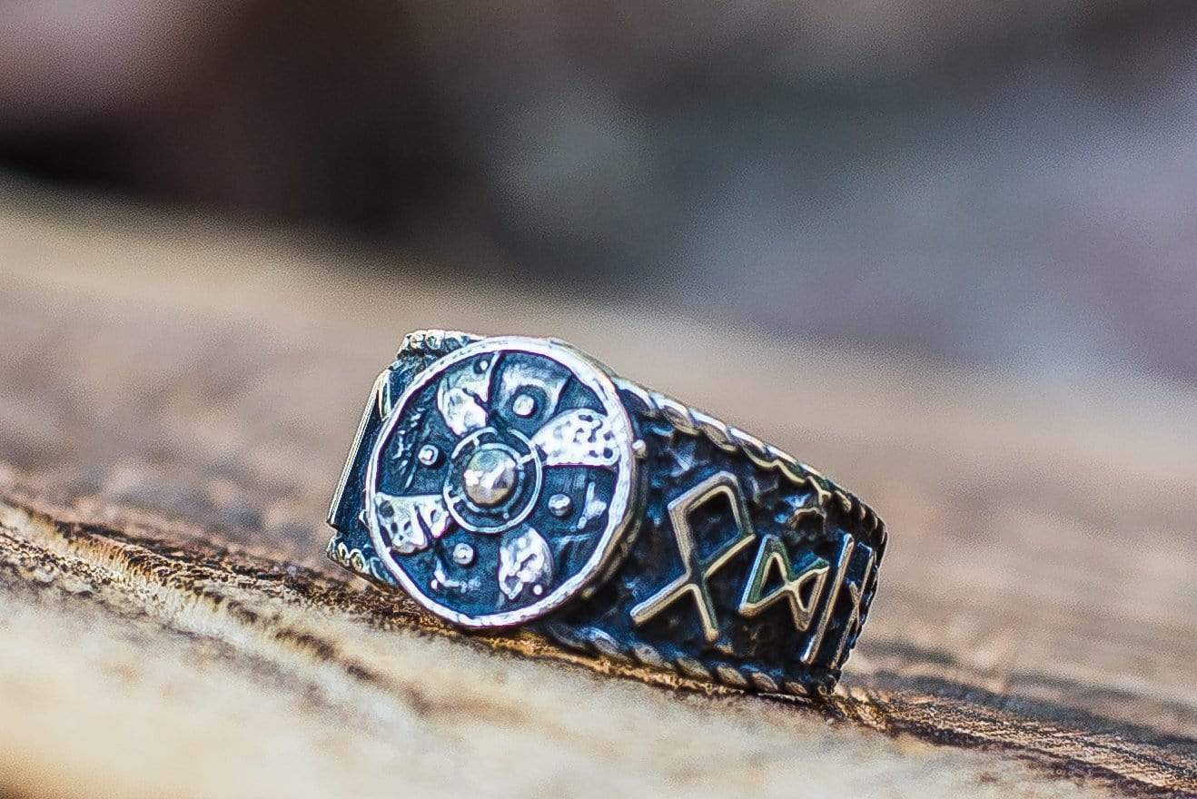 Ancient Smithy VW Rings Viking Shield With HAIL ODIN Runes Sterling Silver Ring