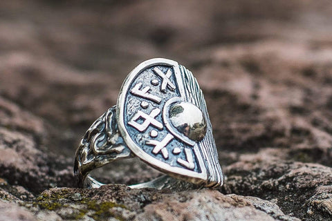Ancient Smithy VW Rings Viking Shield With Runes and Wooden Texture Sterling Silver Pagan Ring
