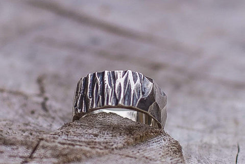Ancient Smithy VW Rings Wood and Stone Texture Ring Handmade Sterling Silver Viking Ring