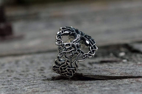 Ancient Smithy VW Rings Yggdrasil Ring with Ornament Sterling Silver Unique Norse Jewelry