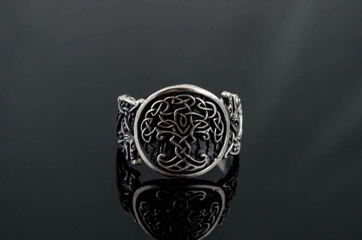 Ancient Smithy VW Rings Yggdrasil Symbol with Wolf Ornament Sterling Silver Viking Ring
