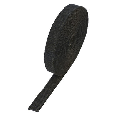 "Black Coloured Exhaust Wrap 25mm(1"") Wide x 15mt(50ft) Roll 650⁰C Continuous"