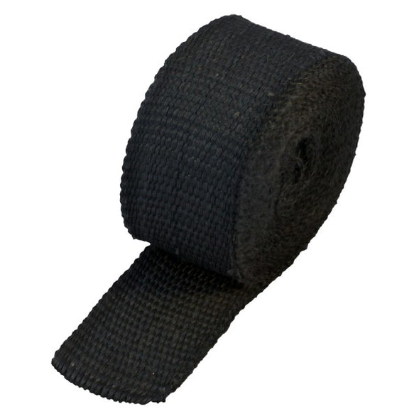 "Black Coloured Exhaust Wrap 50mm(2"") Wide x 3mt(10ft) Roll 650⁰C Continuous"