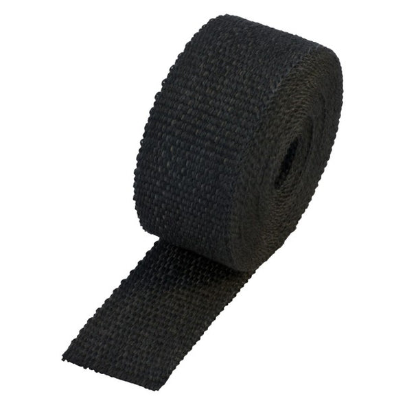 "Black Coloured Exhaust Wrap 50mm(2"") Wide x 7.5mt(25ft) Roll 650⁰C Continuous"