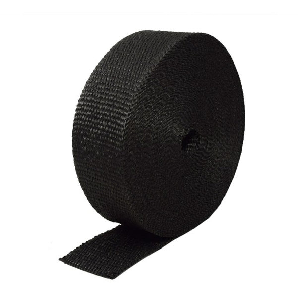 "Black Coloured Exhaust Wrap 50mm(2"") Wide x 15mt(50ft) Roll 650⁰C Continuous"