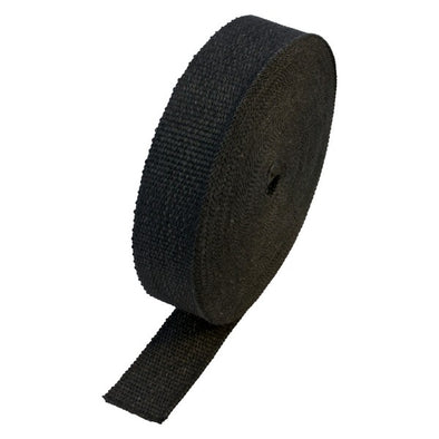 "Black Coloured Exhaust Wrap 50mm(2"") Wide x 30mt(100ft) Roll 650⁰C Continuous"