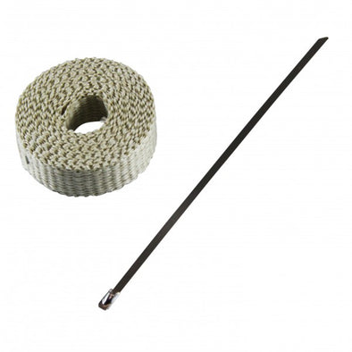 "Exhaust Wrap 25mm(1"") x 3mt(10ft) with Stainless Steel Lock Tie Rated 650⁰C"