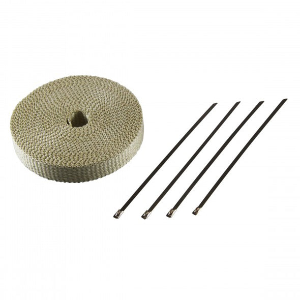 "Exhaust Wrap 25mm(1"") x 15mt(50ft) with 4 Stainless Steel Lock Ties Rated 650⁰C"