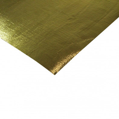 Heat Shield Gold Mat 620mm x 650mm Aluminised Fibreglass + adhesive Rated 590⁰C