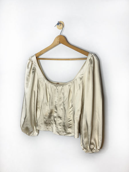 Vic's Free People Ivory Satin Blouse