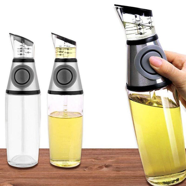 Buttoned Oil and Vinegar Dispenser Cum Measurer
