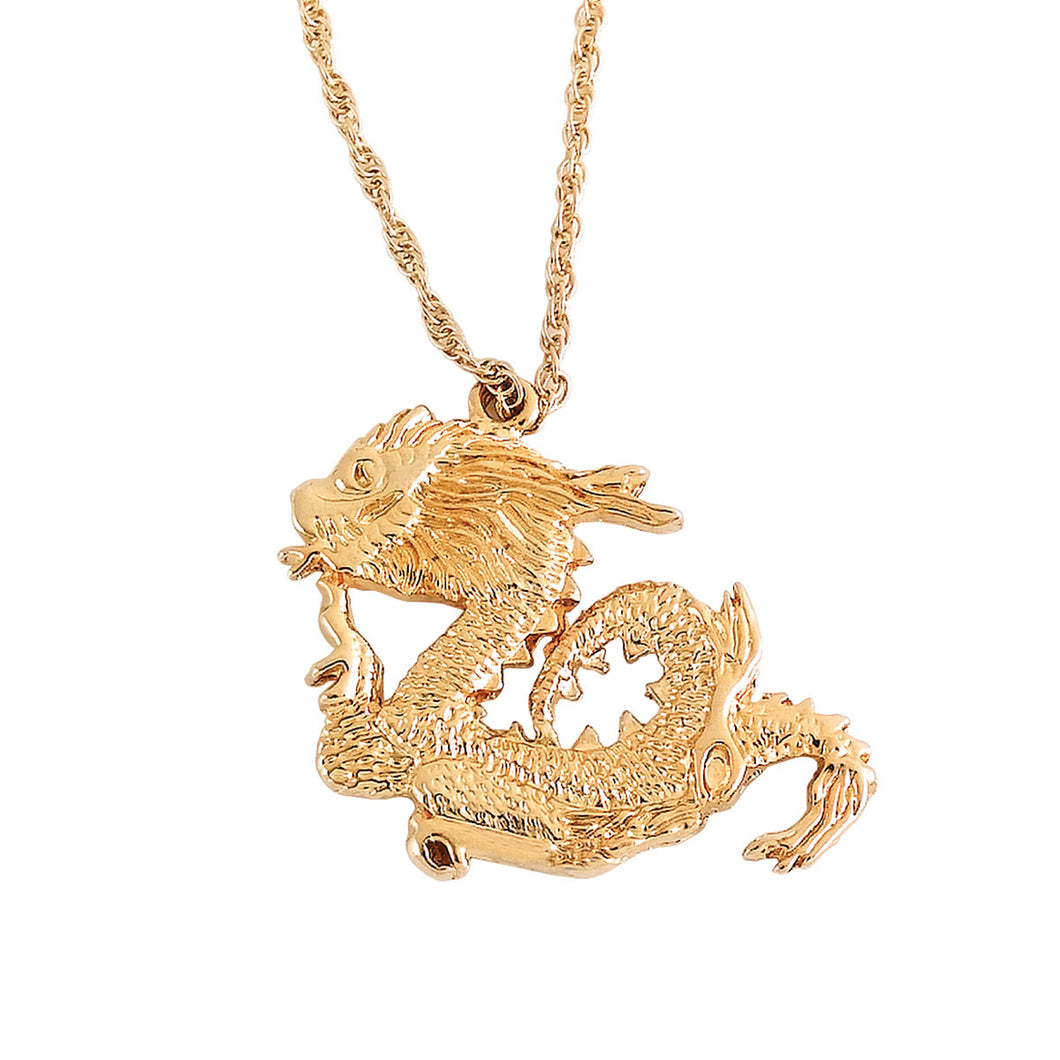 Dragon Figure 14k Gold Platted Necklace