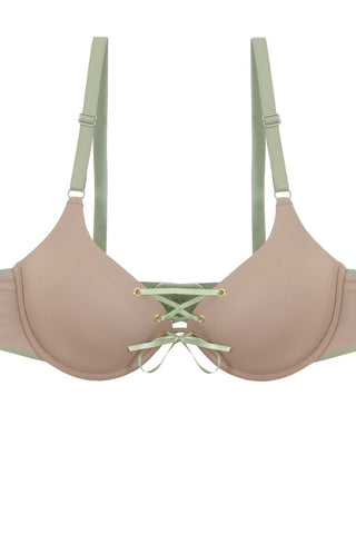 Ladies two tone tie up bra