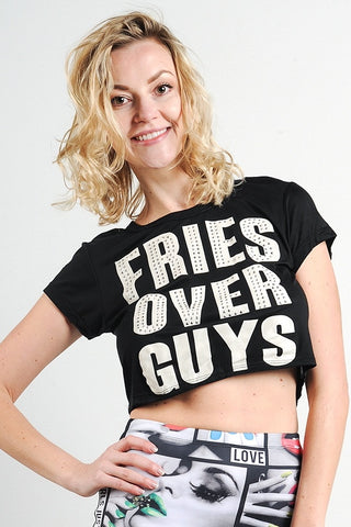"""fries Over Guys"" Graphic Studs Detail Crop Top"