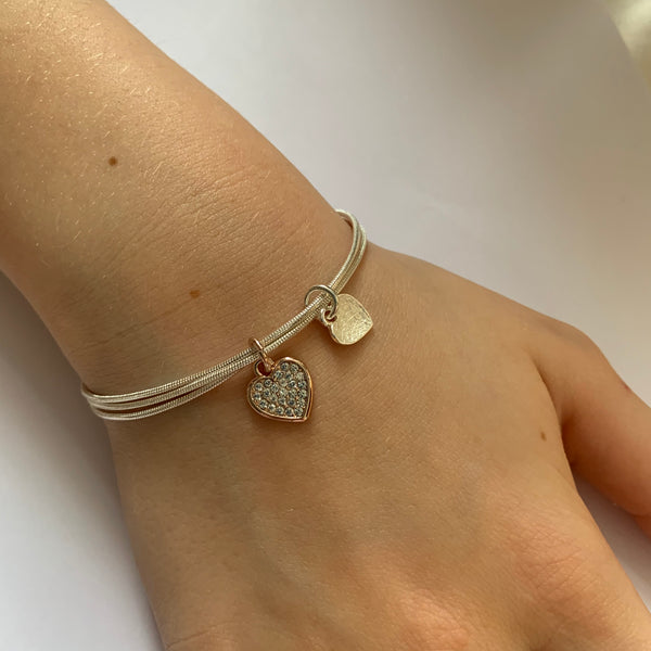 Rose Gold Crystal and Sliver Plated Heart Triple Layer Bracelet