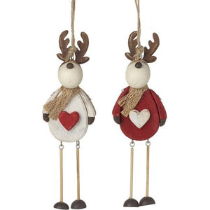 Hanging wooden reindeer Christmas decoration