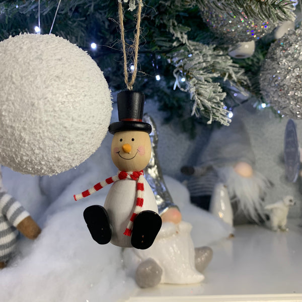 Wooden Snowman Christmas tree decoration