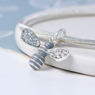 Silver Plated Three Strand Bracelet with Enamel Crystal Bee