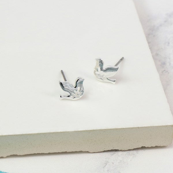 Silver Plated Dove Stud Earrings