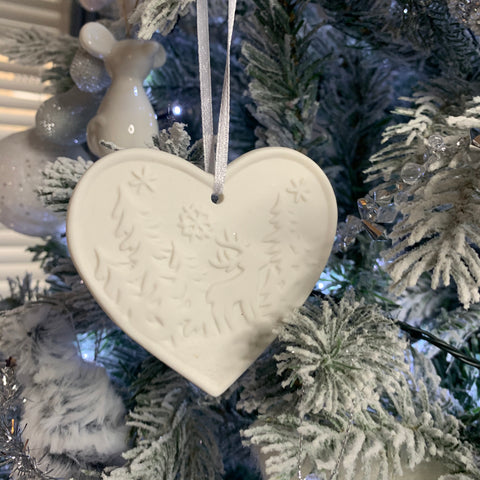 White ceramic hanging heart Christmas decoration