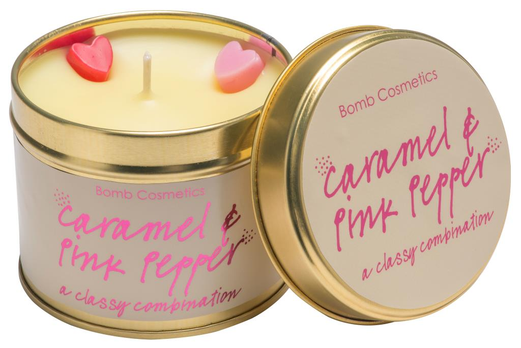Bomb Cosmetics Caramel and Pink Pepper Tinned Candle