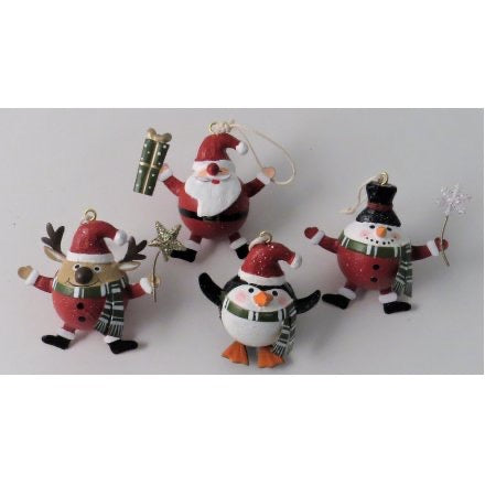 Festive Christmas character tree decoration (a choice of a reindeer, penguin, snowman or Santa)