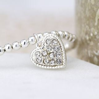 Silver plated beaded bracelet with crystal heart