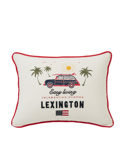 Lexington Surf Car Cotton Pillow Cover, White