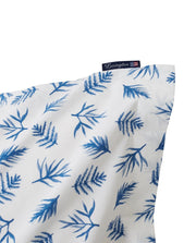 Lexington Blue Printed Leaves Organic Cotton Poplin Örngott