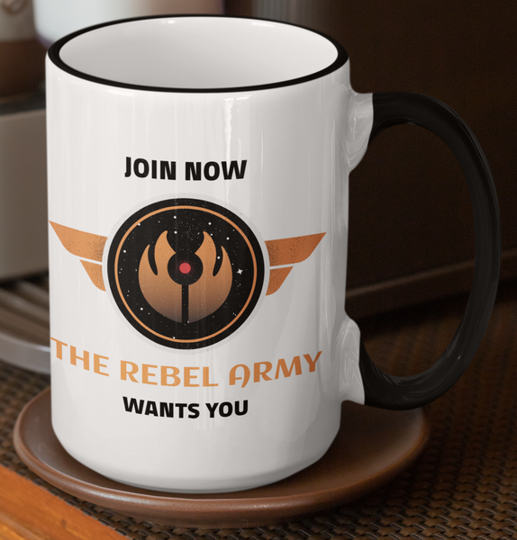 "Coffee Cup with ""Join Now, The Rebel Army Wants You"" Graphics. - Pooky Noodles"