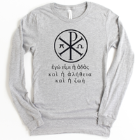 Greek Symbol and Text Christian Bella+Canvas Long Sleeve T Shirt