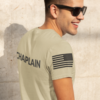 Chaplain T Shirt with Advancing US Flag and Cross on Sleeves - Pooky Noodles