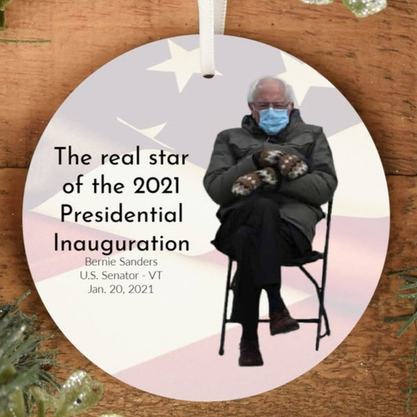 Bernie Sanders Sitting Mittens Meme at the Presidential Inauguration 2021 Ornament - Pooky Noodles