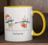 Cartoon Firefighter Coffee Cup - Gift Mug - Pooky Noodles