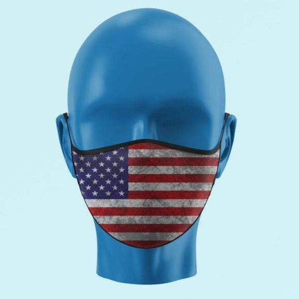 Grunged Color American Flag Mask - Pooky Noodles