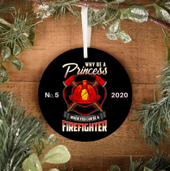 Personalized Female Firefighter Ornament | Firefighter Gift Ornament | First Responder Gifts | Customize Front and Back | Durable Metal - Pooky Noodles